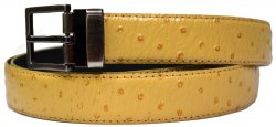 Serpi Mustard Ostrich Print Genuine Leather Belt F1/30