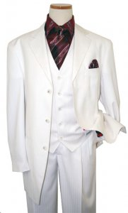 Steve Harvey Classic Collection Cream Shadow Stripes And Hand-Pick Stitching Super 140's Vested Suit 6741