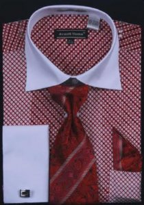 Avanti Uomo Red Printed Two Tone Design 100% Cotton Shirt / Tie / Hanky Set With Free Cufflinks DN57M