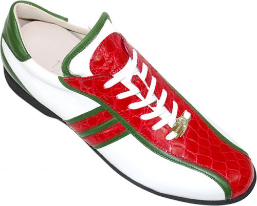 Fennix Italy 3114 Red / White / Green Genuine Alligator Sneakers With Silver Fennix Batch