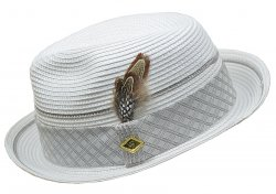Stacy Adams White With Gray / Silver Diamond plaid design Head Band Fedora Dress Hat SA589-WHT