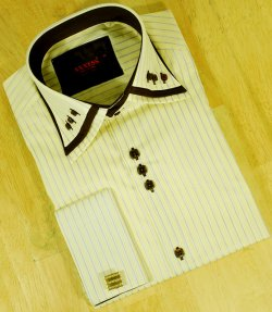 Axxess Butter With Chocolate Brown / White Pinstripes Tabbed Collar 100% Cotton Dress Shirt