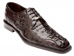 "Belvedere ""Chapo"" Brown All-Over Genuine Hornback Crocodile Shoes 1465."