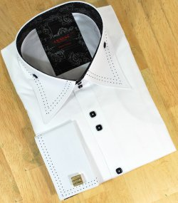 Axxess White With Black Stitching Tabbed Collar 100% Cotton Dress Shirt