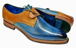 "Emilio Franco ""Renato"" Denim Blue / Camel Hand Painted Calfskin Lace-Up Shoes"