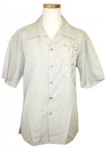 Pronti Light Sage Green/White Pinstripes And Embroidered Design 100% Micro Polyester Shirt S1530