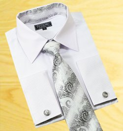 Tessori White Shadow Stripes Spread Collar Shirt With / Tie / Hanky Set With Free Cufflinks SH-303