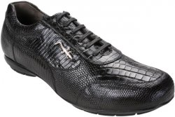 "Belvedere ""Torino"" Black Genuine Crocodile Belly/Lizard Sneakers With Silver Crocodile On The Side"