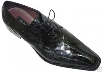 Mezlan AXL Black Genuine Alligator Lizard Shoes