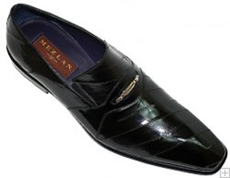 Mezlan Black Genuine Eel Cordovan Leather Loafers