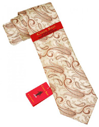 Steve Harvey Code Red Tan with BrownPeach Paisley Design 100 Woven Silk NeckTie Hanky Set