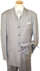 Steve Harvey Collection Light Grey with White Windowpanes Super 120s Wool Suit