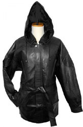Bagazio Black Lambskin Leather 34 Length Coat with Detachable Hood