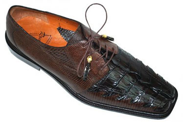 Romano terra brown Genuine Triple Hornback Crocodile Tail Lizard Shoes
