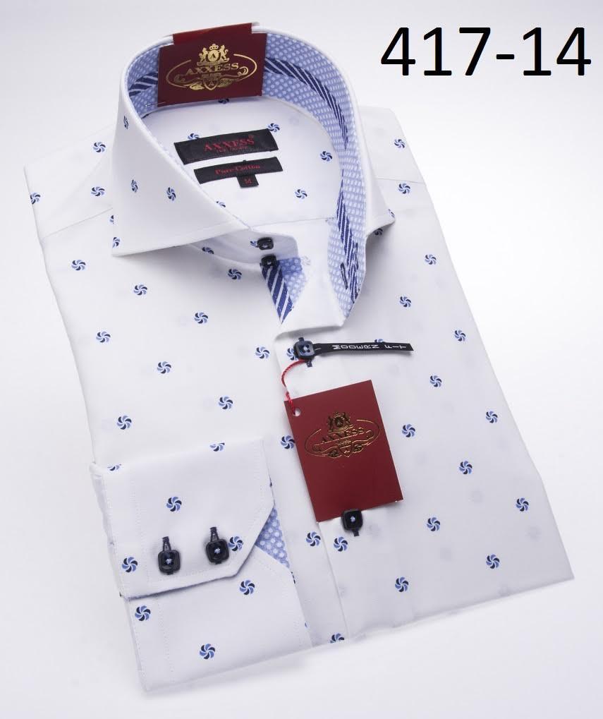 Axxess white blue modern fit 100 cotton dress shirt 417 for Modern fit dress shirt