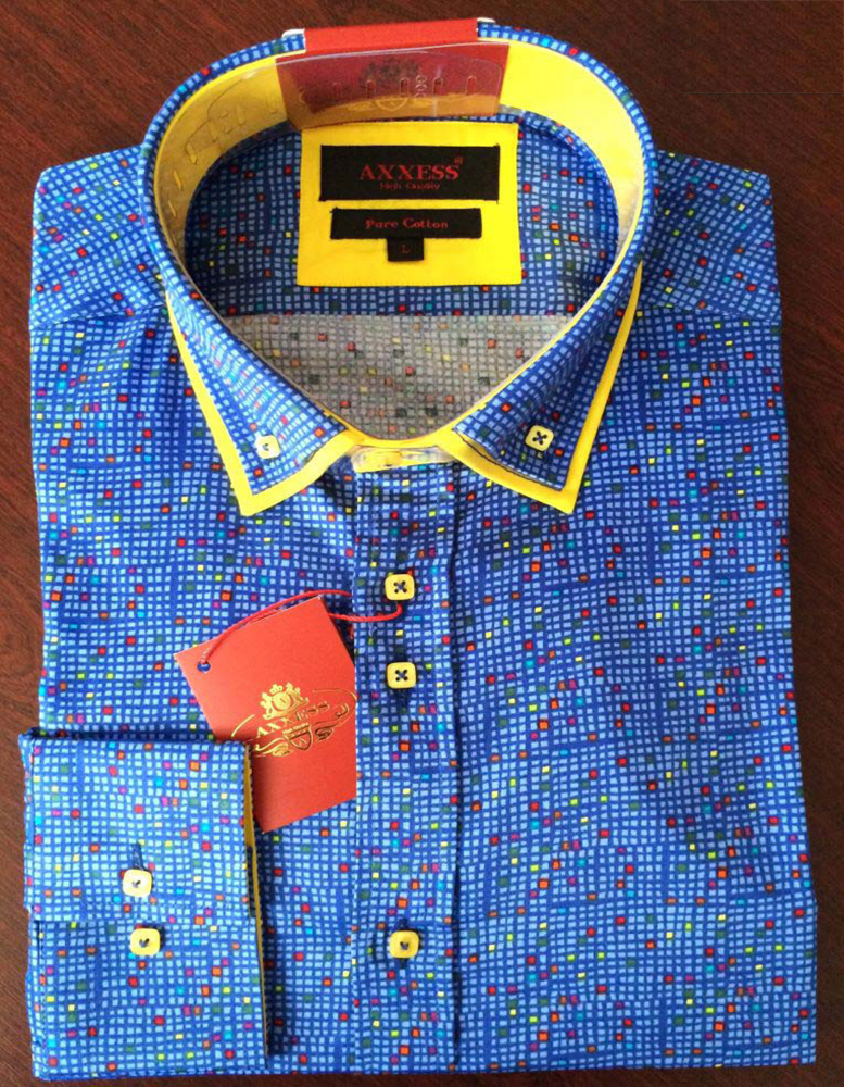 Axxess blue yellow slim fit pure cotton dress shirt for Blue and yellow dress shirt