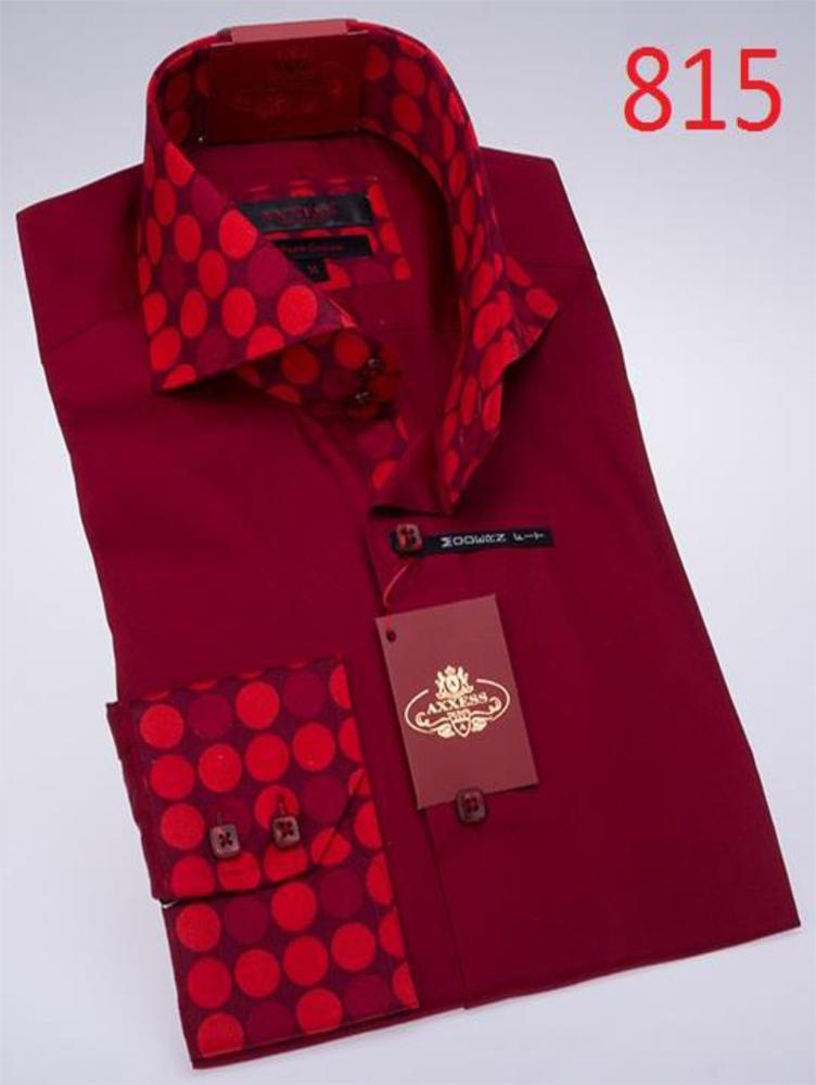 Axxess burgundy cotton modern fit dress shirt 815 for Burgundy fitted dress shirts