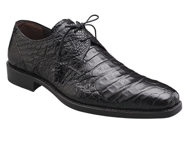 "Mezlan ""Anderson"" Black All-Over Genuine Crocodile Shoes With Crocodile Wrapped Tassels"