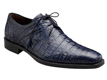 "Mezlan ""Anderson"" Blue All-Over Genuine Crocodile Shoes With Crocodile Wrapped Tassels"