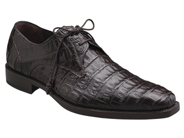 "Mezlan ""Anderson"" Dark Brown All-Over Genuine Crocodile Shoes With Crocodile Wrapped Tassels"