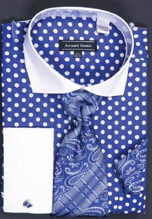 Avanti Uomo Blue / White Polka Dot Design 100% Cotton Shirt / Tie / Hanky Set With Free Cufflinks DN47M