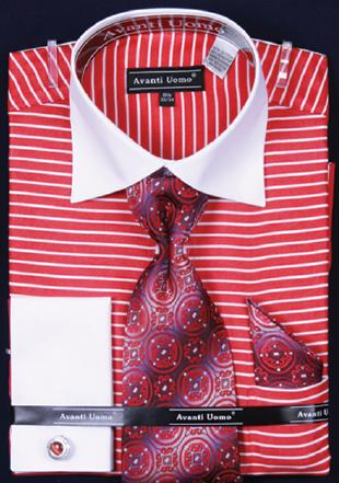 Avanti Uomo Red Horizontal Stripe Two Tone Shirt / Tie / Hanky Set With Free Cufflinks DN55M