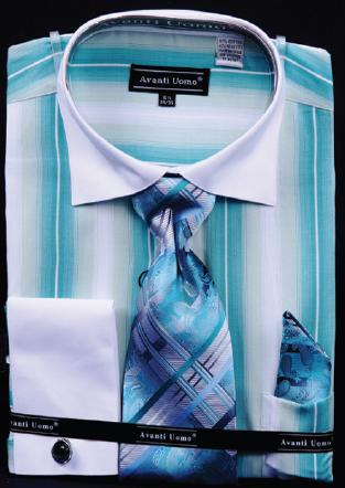 Avanti Uomo Teal / White Pinstripes Design Shirt / Tie / Hanky Set With Free Cufflinks DN59M.