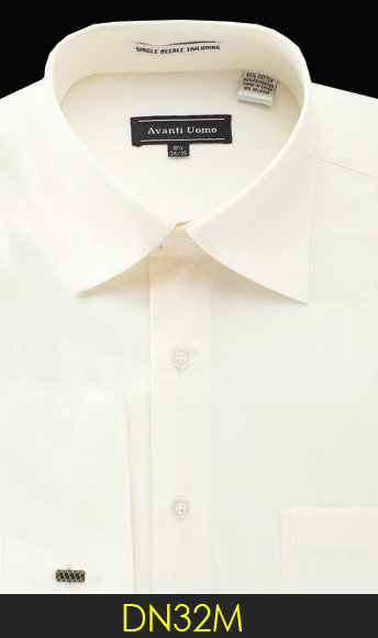 Avanti Uomo Solid Cream Cotton Blend Dress Shirt With French Cuffs DN32M