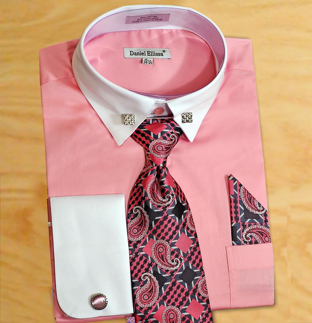 Daniel Ellissa Pink White Cotton Dress Shirt Tie