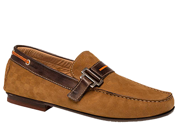 "Bacco Bucci ""Altieri"" Cognac Genuine Laser-Embossed Nubuck Calfskin Moccasin Loafer Shoes 7640"