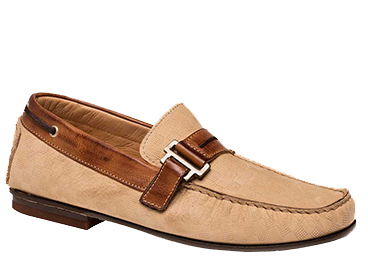 "Bacco Bucci ""Altieri"" Taupe Genuine Laser-Embossed Nubuck Calfskin Moccasin Loafer Shoes 7640"