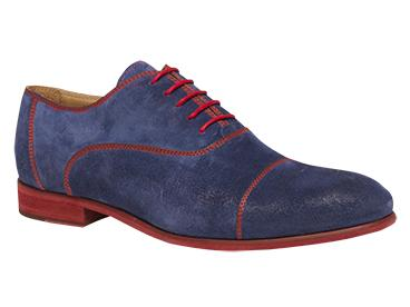 "Bacco Bucci ""Orsino"" Blue Genuine English Suede Captoe Oxford Shoes"