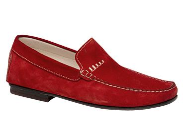 "Bacco Bucci ""Otto"" Red Genuine English Suede Moccasin Loafer Shoes"