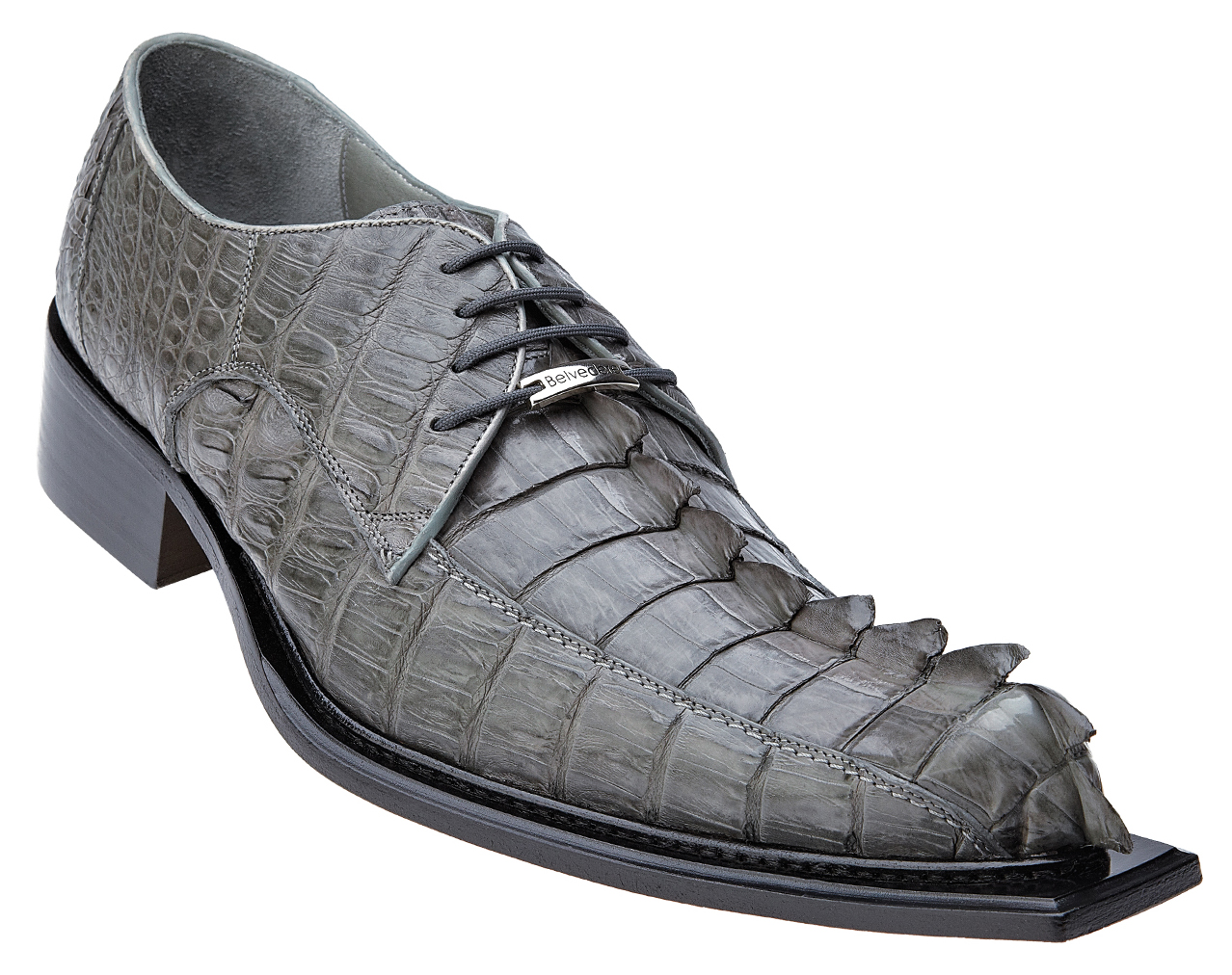 Belvedere Zeno Grey All Over Hornback Crocodile With Tail Shoes