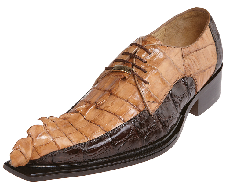 Belvedere Zeno Brown Camel All Over Hornback Crocodile With Tail Shoes