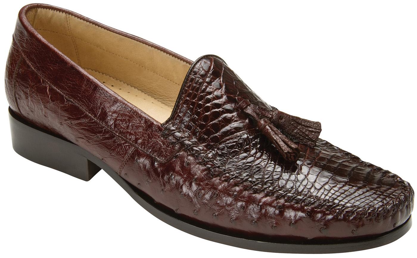 Belvedere Bari Brown Genuine Alligator Ostrich Skin