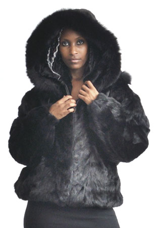 Winter Fur Ladies Black Genuine Mink Fur Jacket With Fox Trimmed Detachable Hood W03S04BK