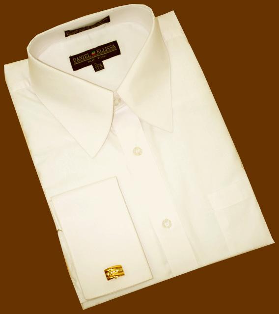 Daniel Ellissa Solid Cream Cotton Blend Dress Shirt With