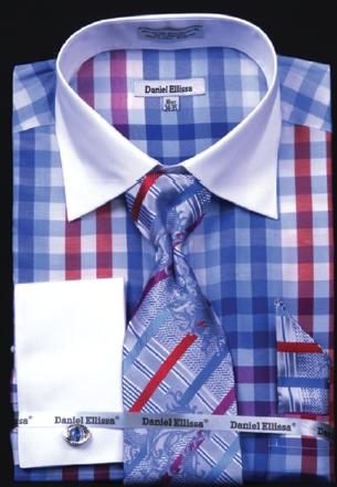 Daniel Ellissa Blue Checker Pattern Shirt / Tie / Hanky Set With Free Cufflinks DS3773P2