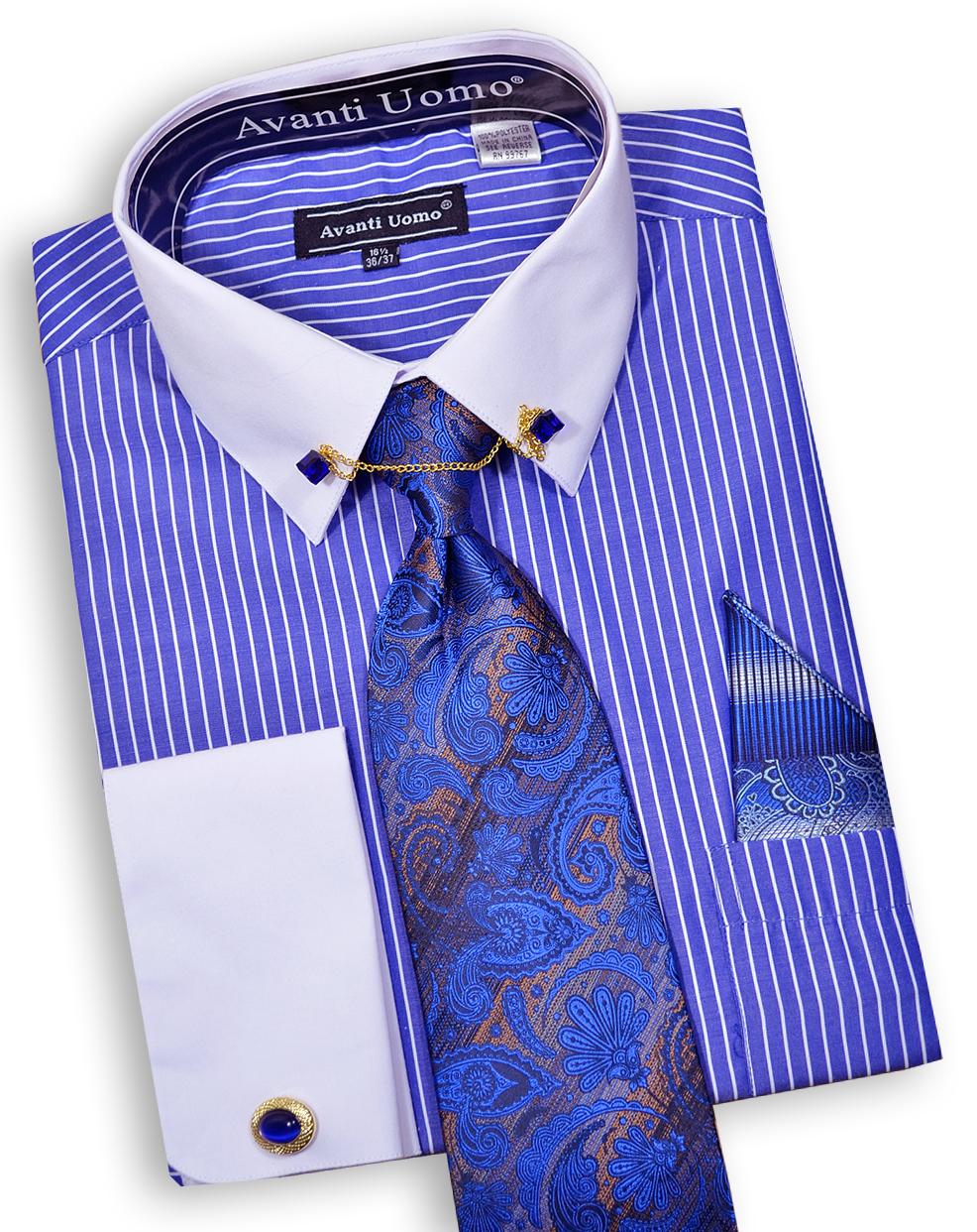 Avanti uomo royal blue white pinstripe dress shirt tie for Blue white dress shirt