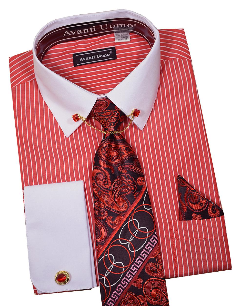 Avanti Uomo Red White Pinstripe Dress Shirt Tie
