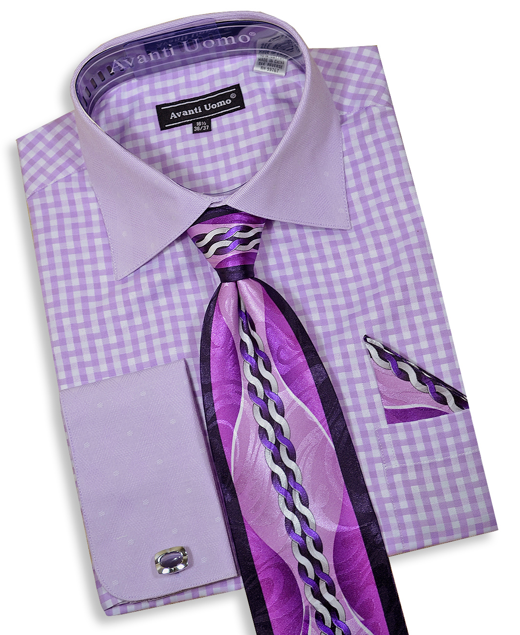 Daniel ellissa lilac white contrast pattern dress shirt for Dress shirt for cufflinks