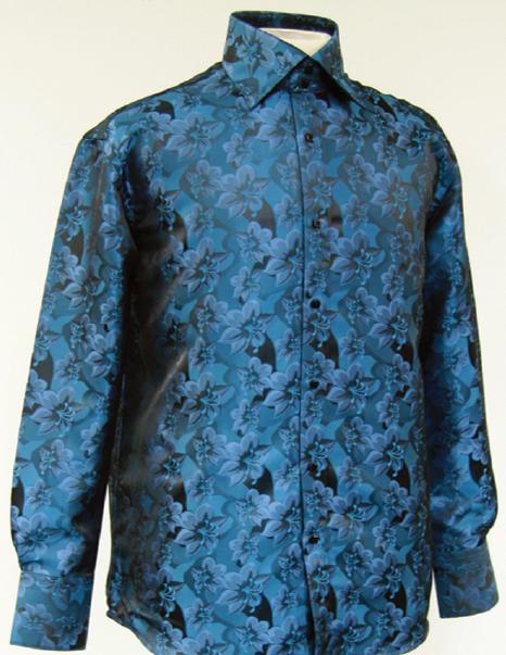 Daniel ellissa teal fancy polyester shirt with button cuff for Daniel ellissa men s dress shirts