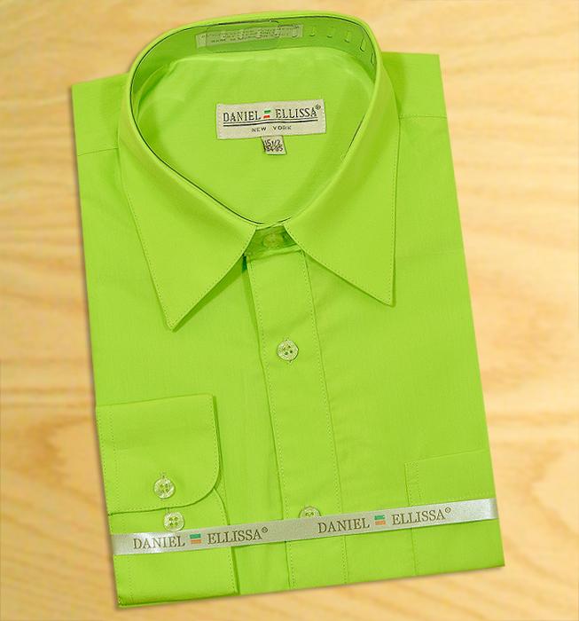 Daniel ellissa solid apple green cotton blend dress shirt for Apple green dress shirt