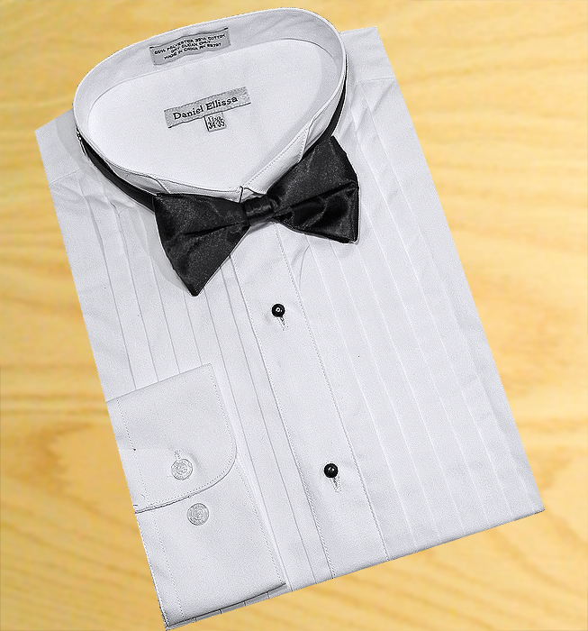 VARCE MEN/'S SLIM FIT WINGTIP COLLAR PLEATED FORMAL DRESS SHIRT