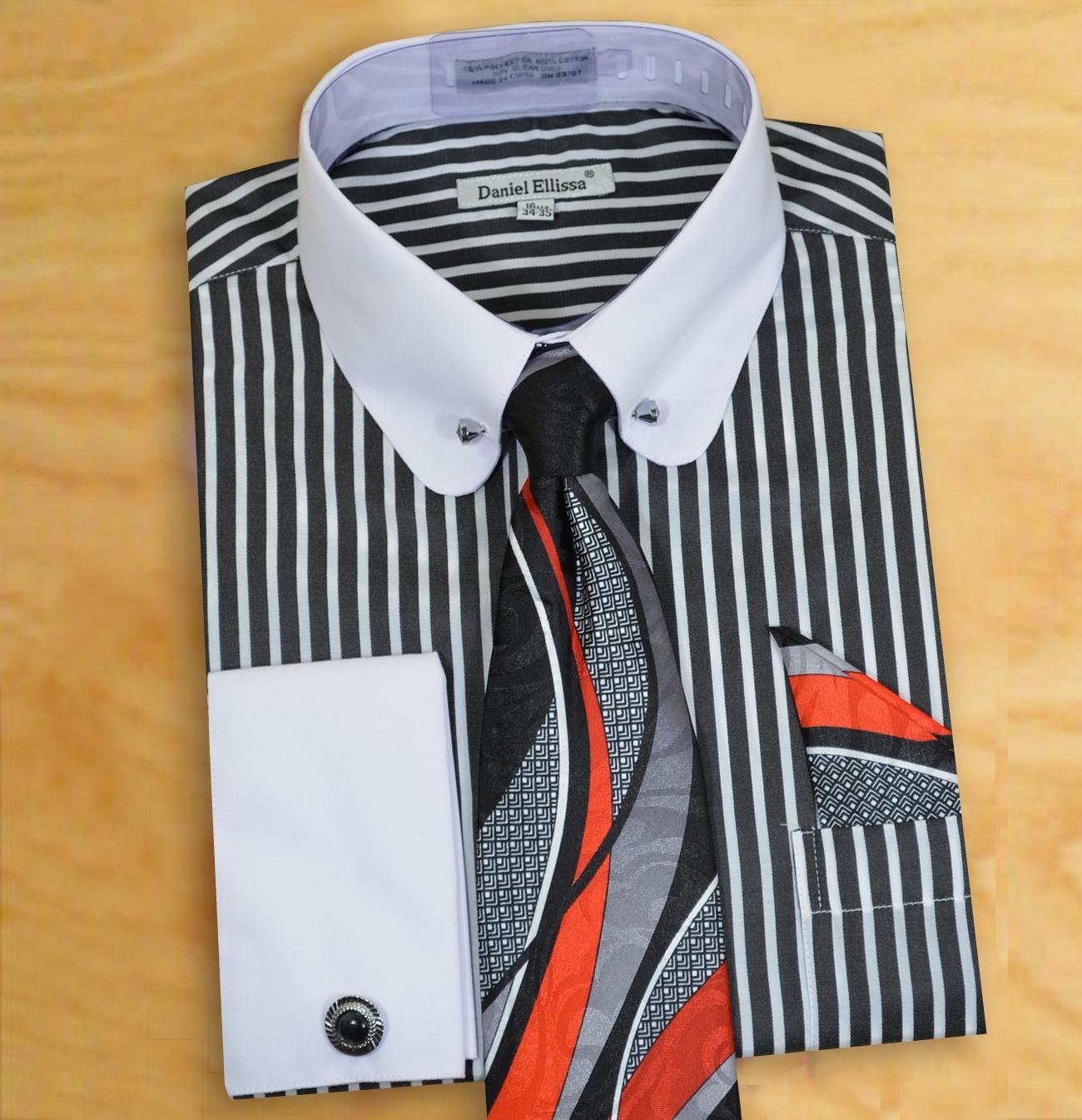 Daniel ellissa black white vertical striped dress shirt for Vertical striped dress shirt