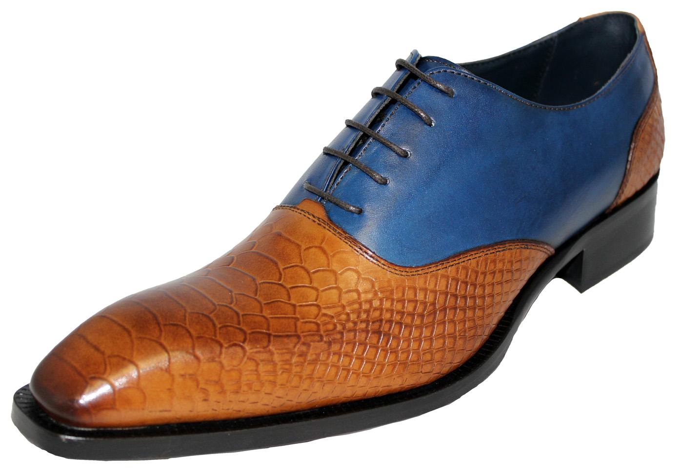 Duca Di Matiste 12 Blue Genuine Italian Calfskin Cognac Snake Print Leather Shoes