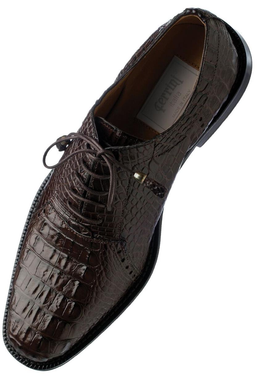 0a29bd99aaa Ferrini 227 Chocolate Genuine Hornback Alligator Lace Up Cap Toe ...