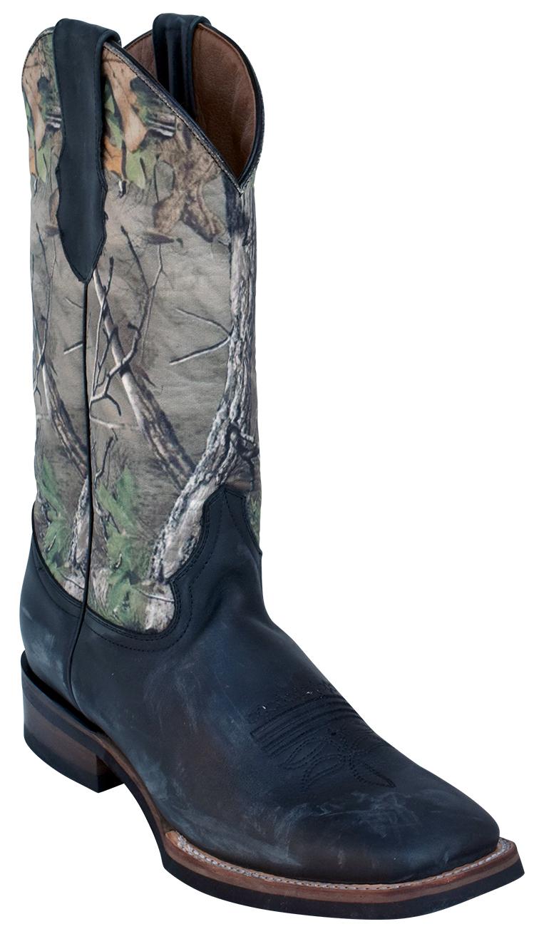 bce87cc42ff Ferrini 12693-04 Black / Camouflage Genuine Cowhide Leather S-Toe Cowboy  Boots.
