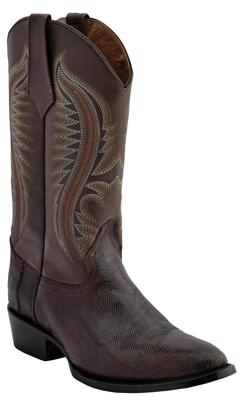 37f3890b042 Ferrini 13611-09 Chocolate Genuine Lizard Leather S-Toe Cowboy Boots.